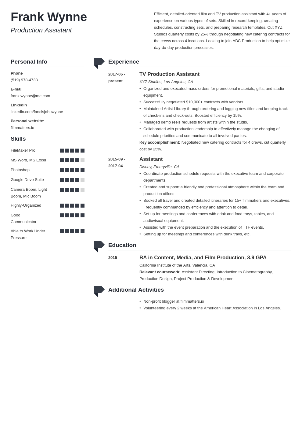 production assistant template muse uk