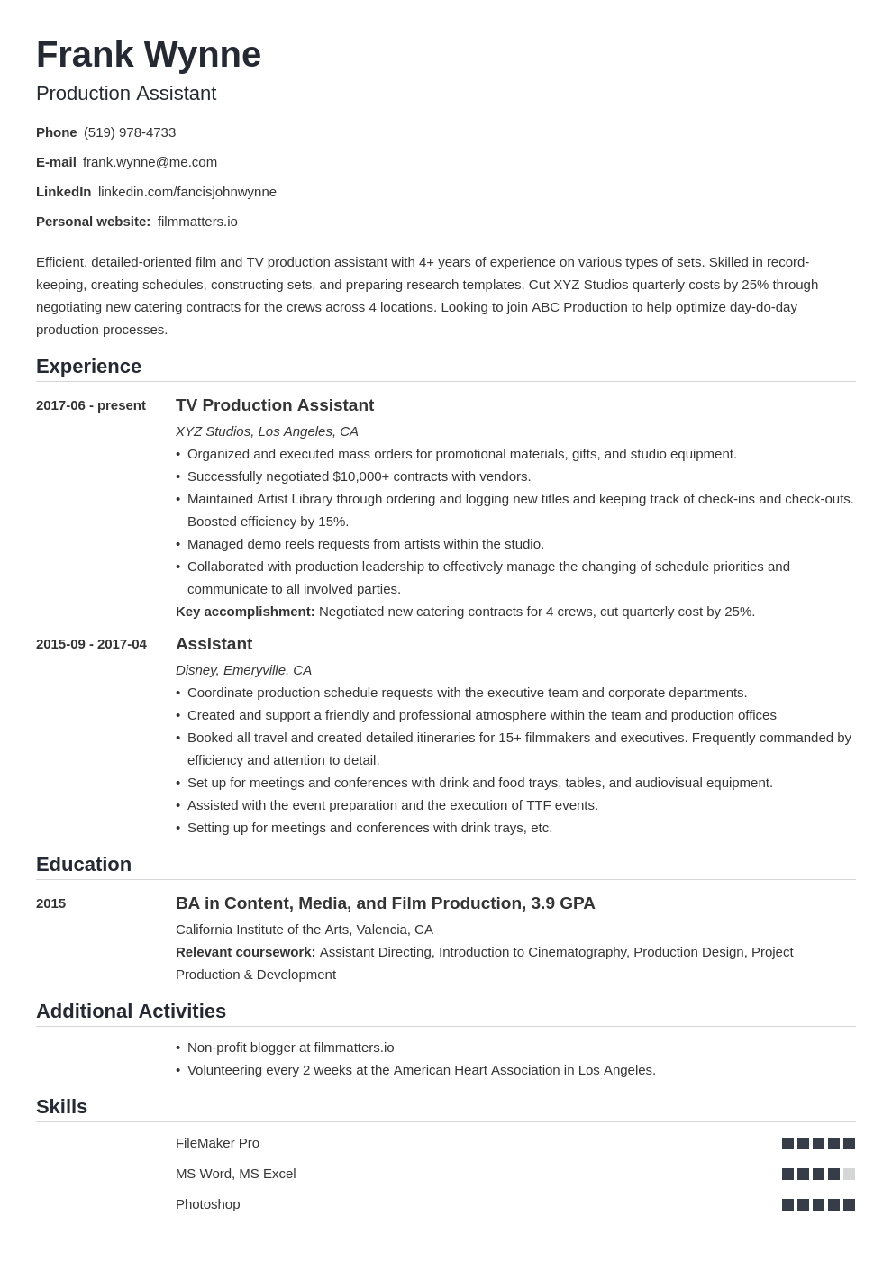 production assistant template nanica uk