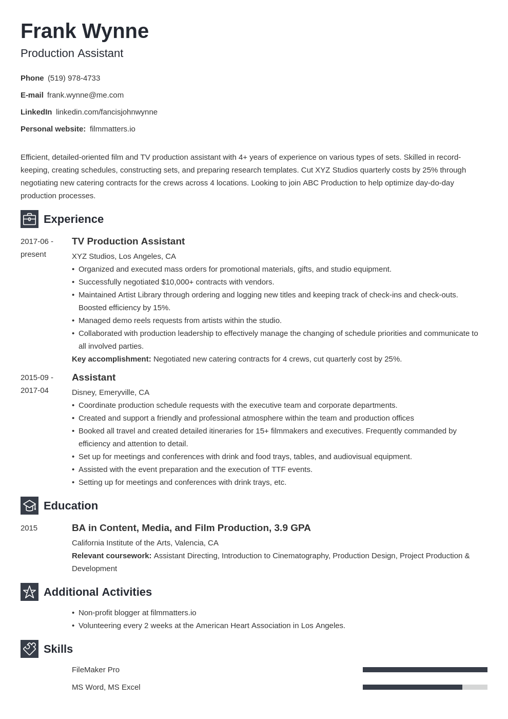 production assistant template newcast uk