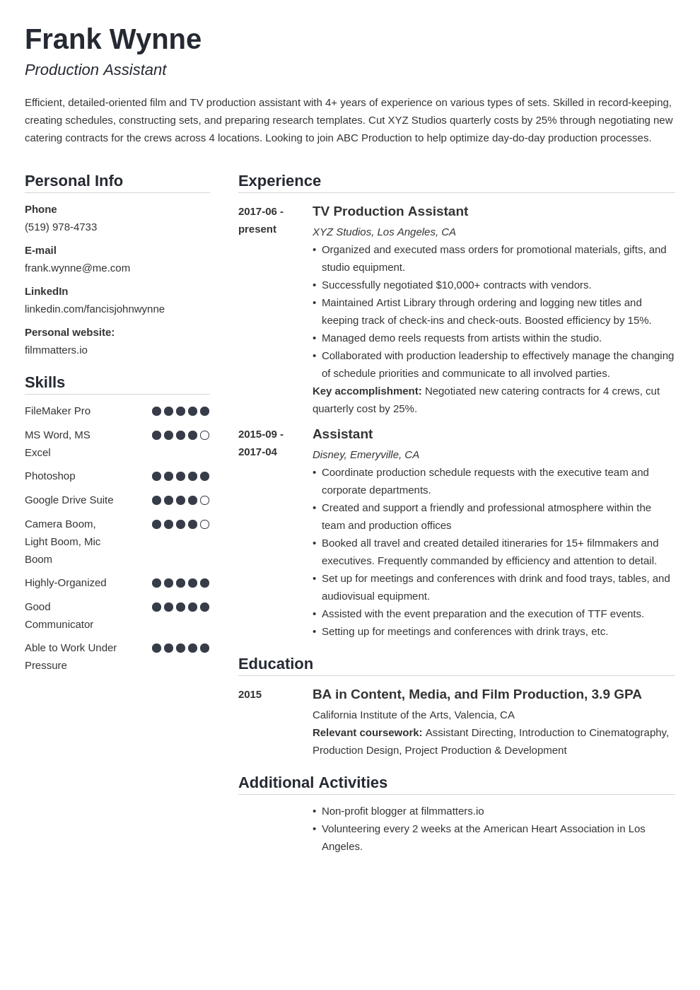 production assistant template simple uk