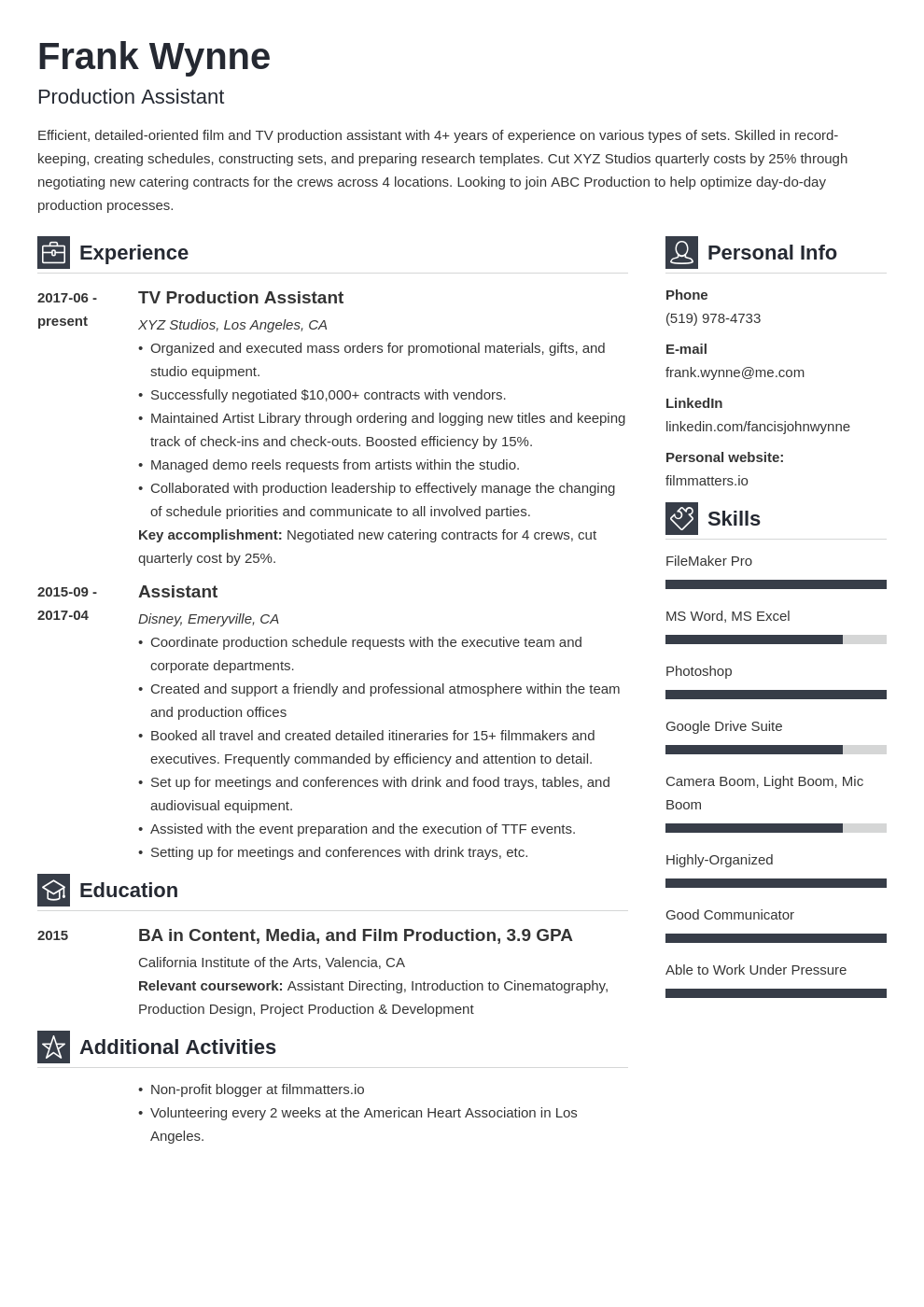 production assistant resume—sample  20 writing tips