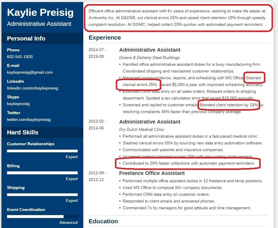 profile section on CV