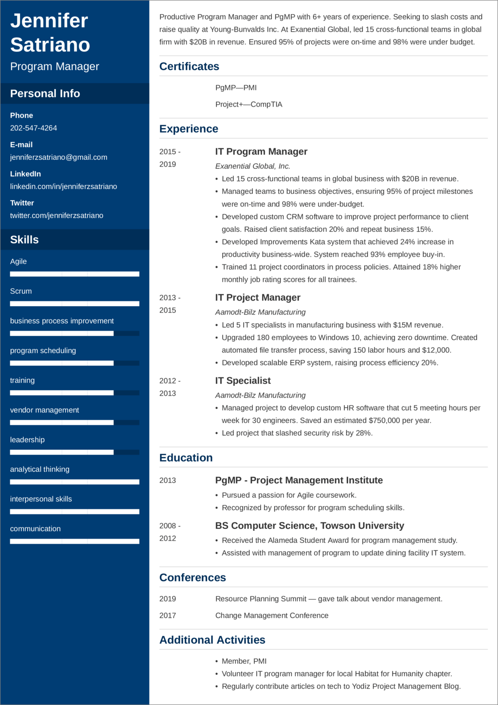 program manager resume templates