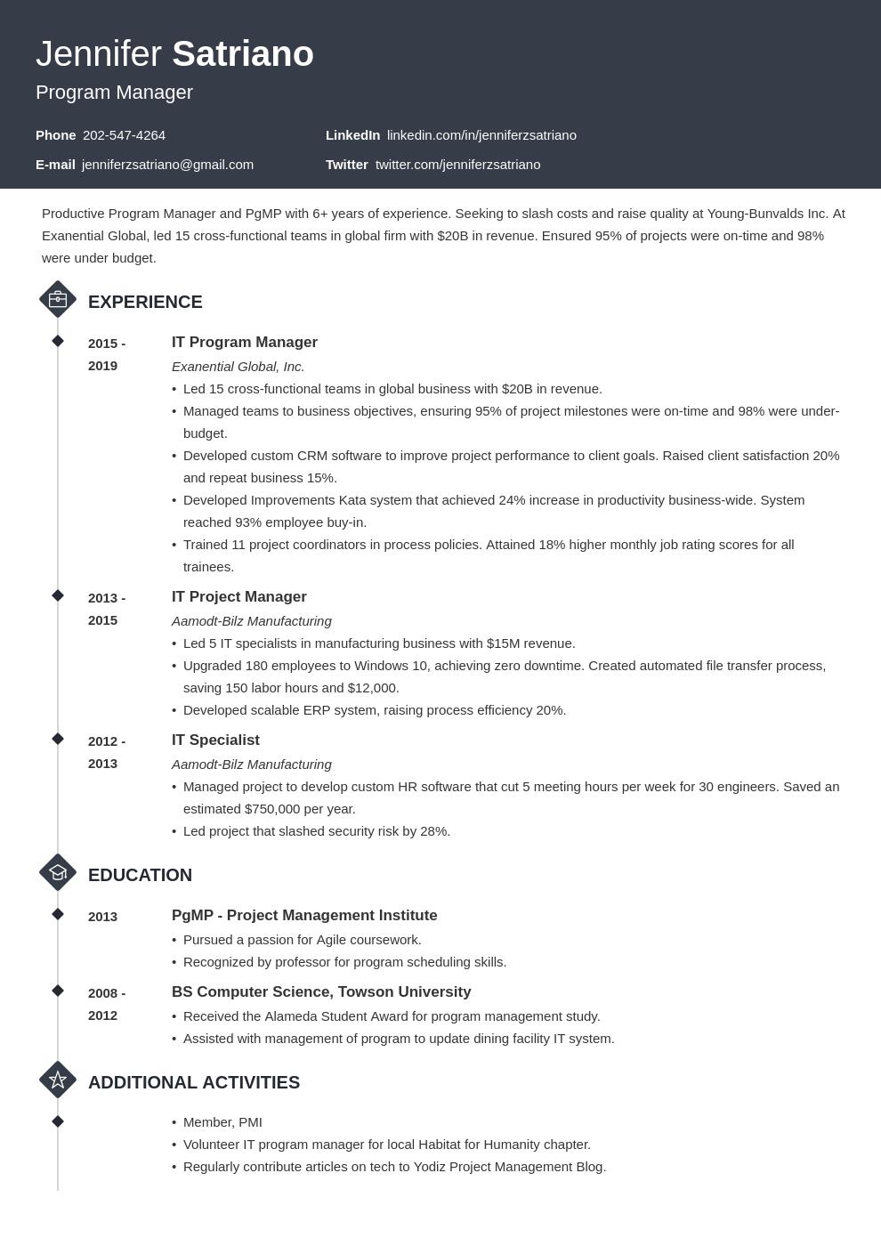 program manager template diamond uk