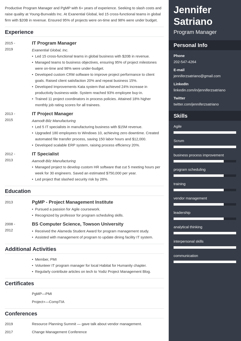 program manager template enfold