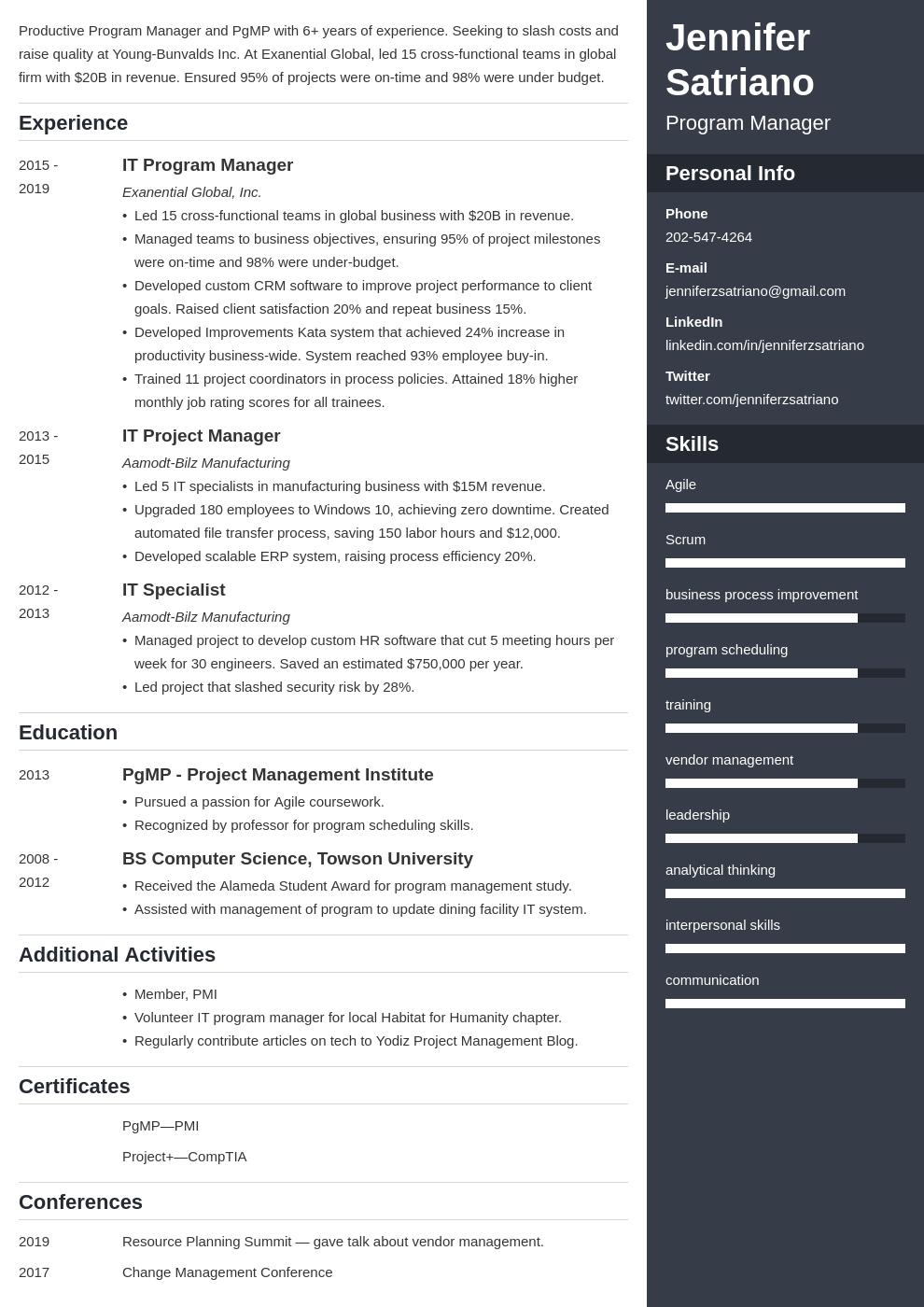 program manager template enfold uk