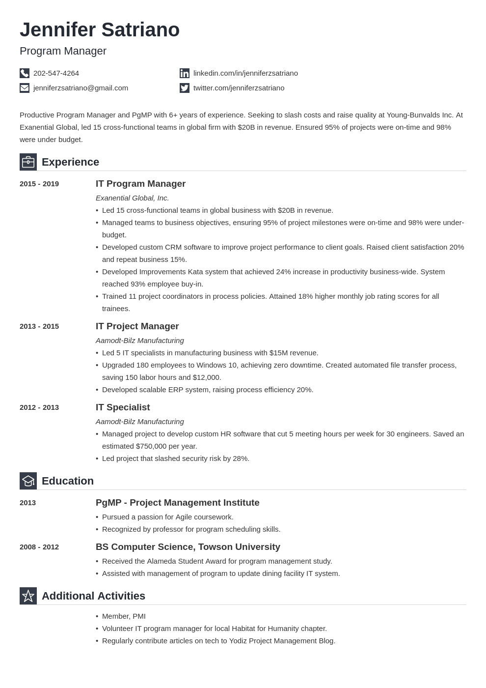 program manager template iconic