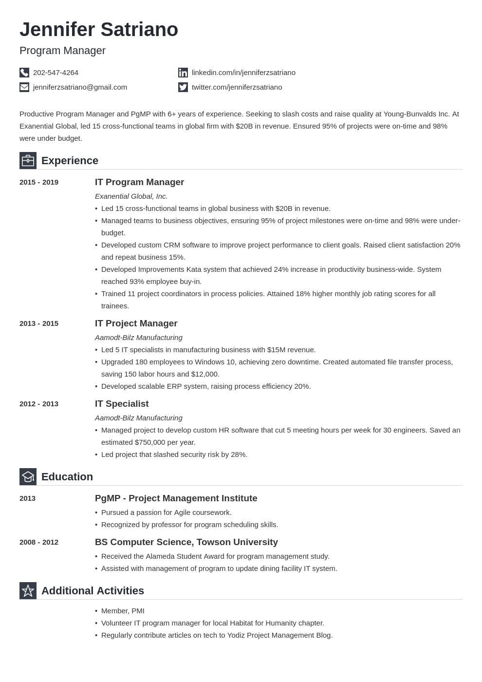 program manager template iconic uk