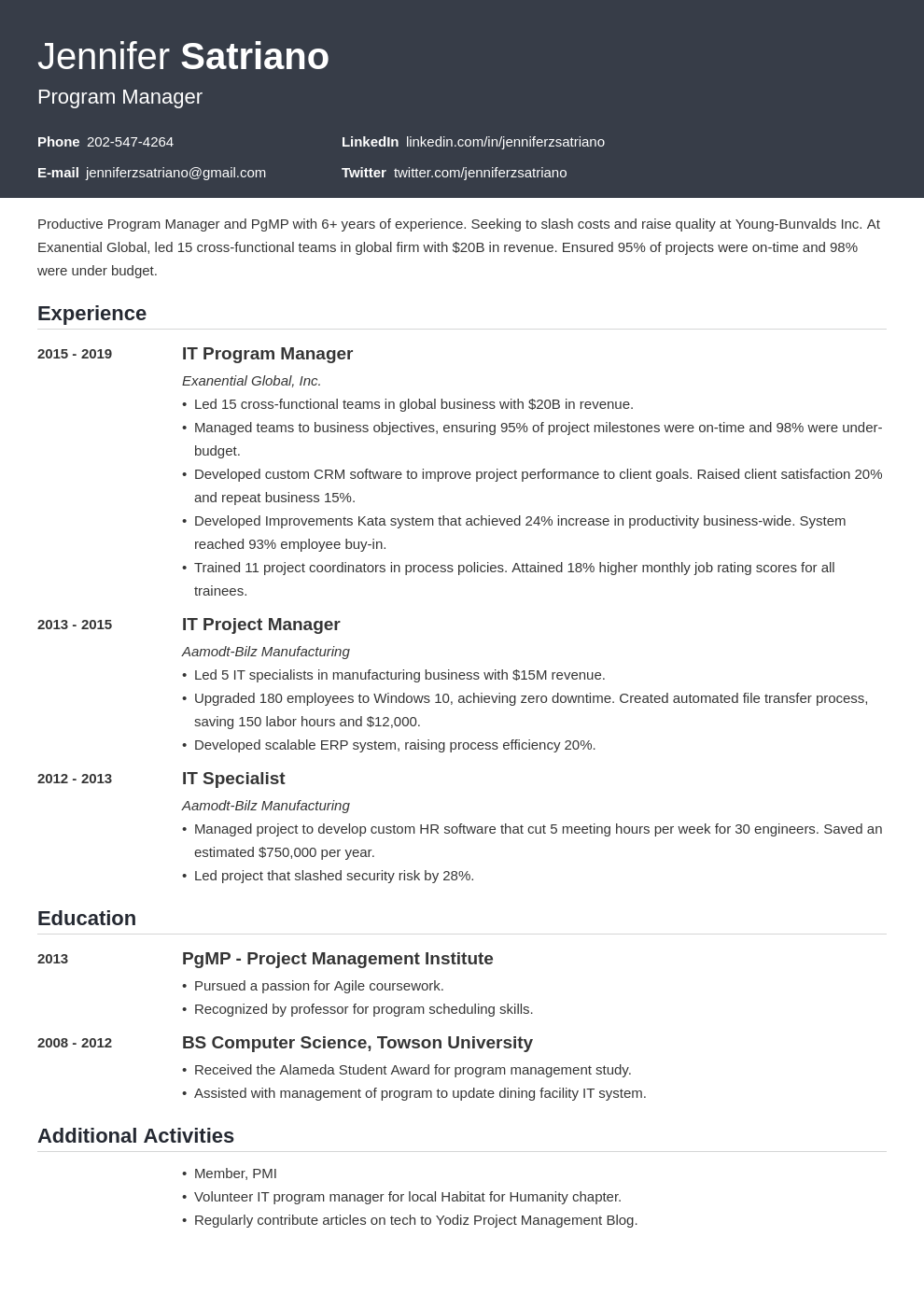 program manager template influx