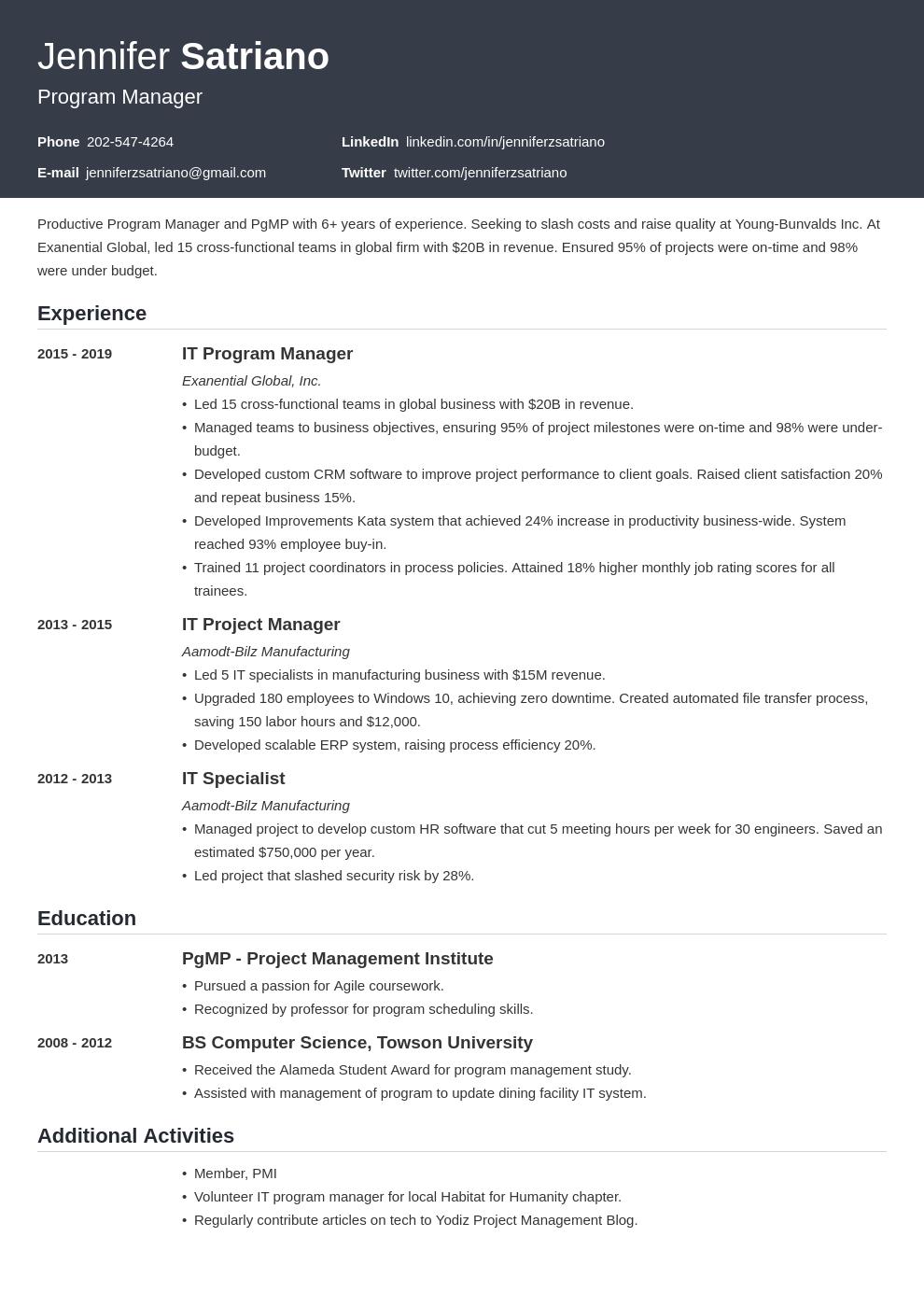 program manager template influx uk