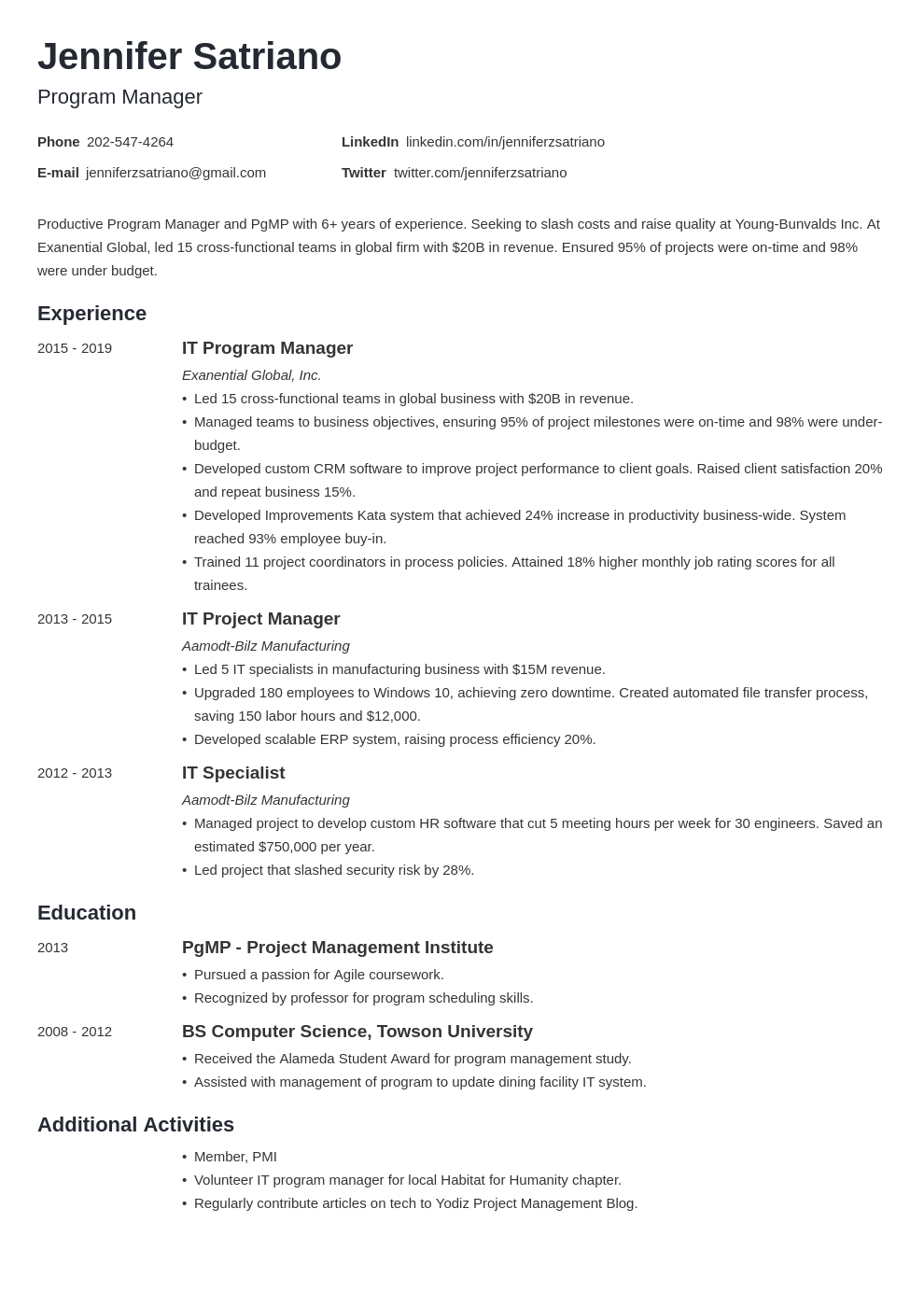 program manager template minimo