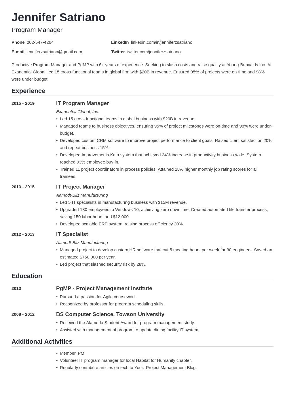 program manager template nanica uk