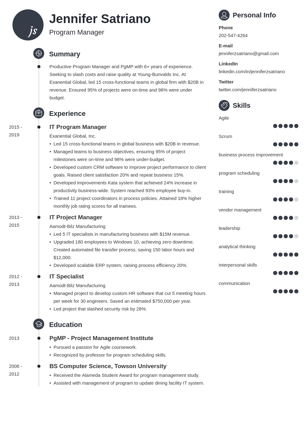 program manager template primo uk