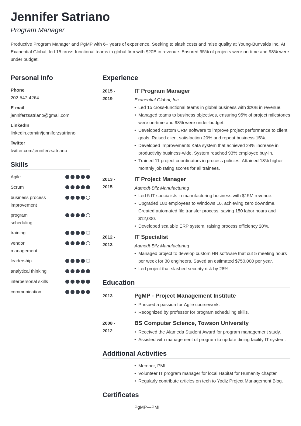 program manager template simple uk