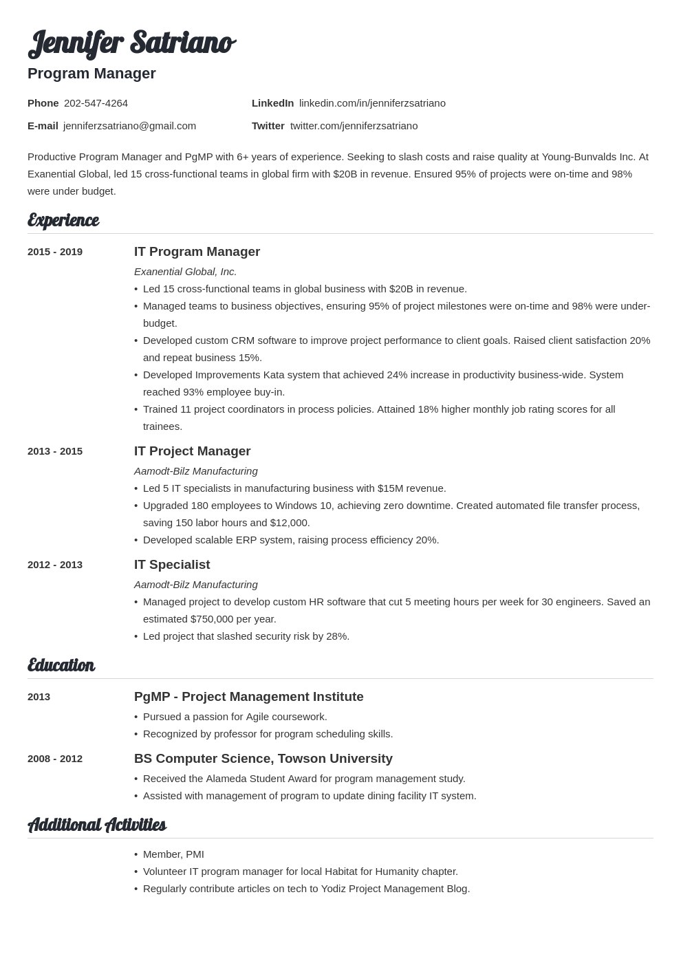program manager template valera