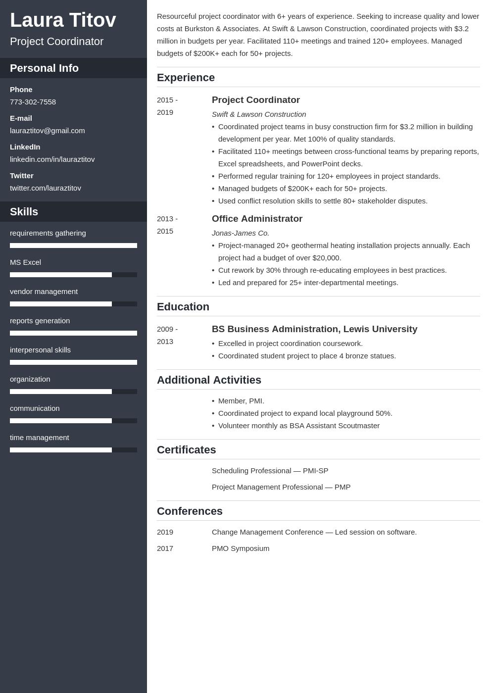 project coordinator template cascade