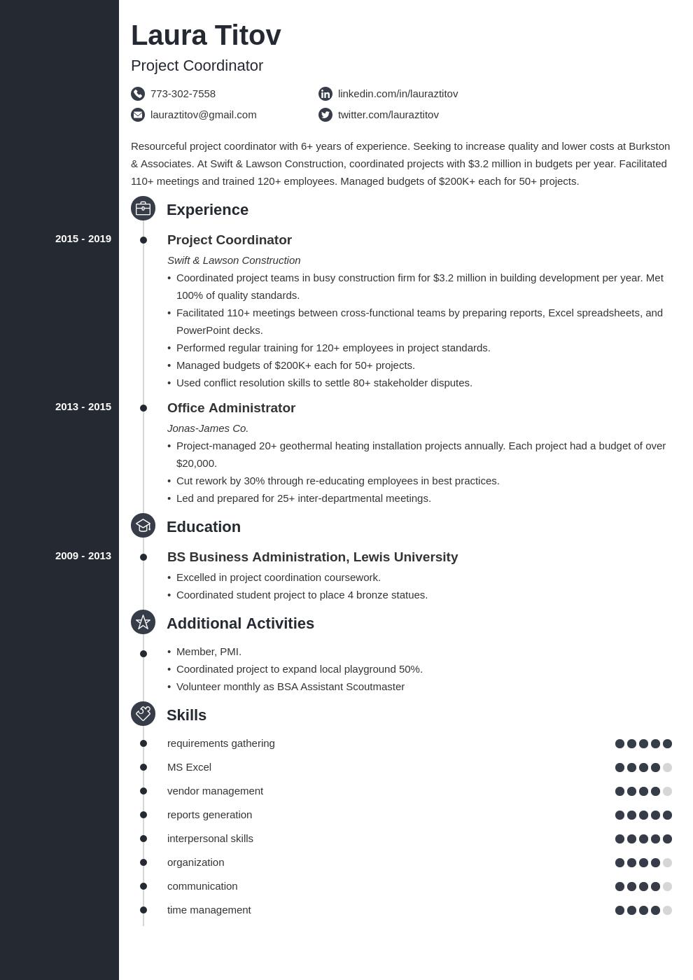 project coordinator template concept