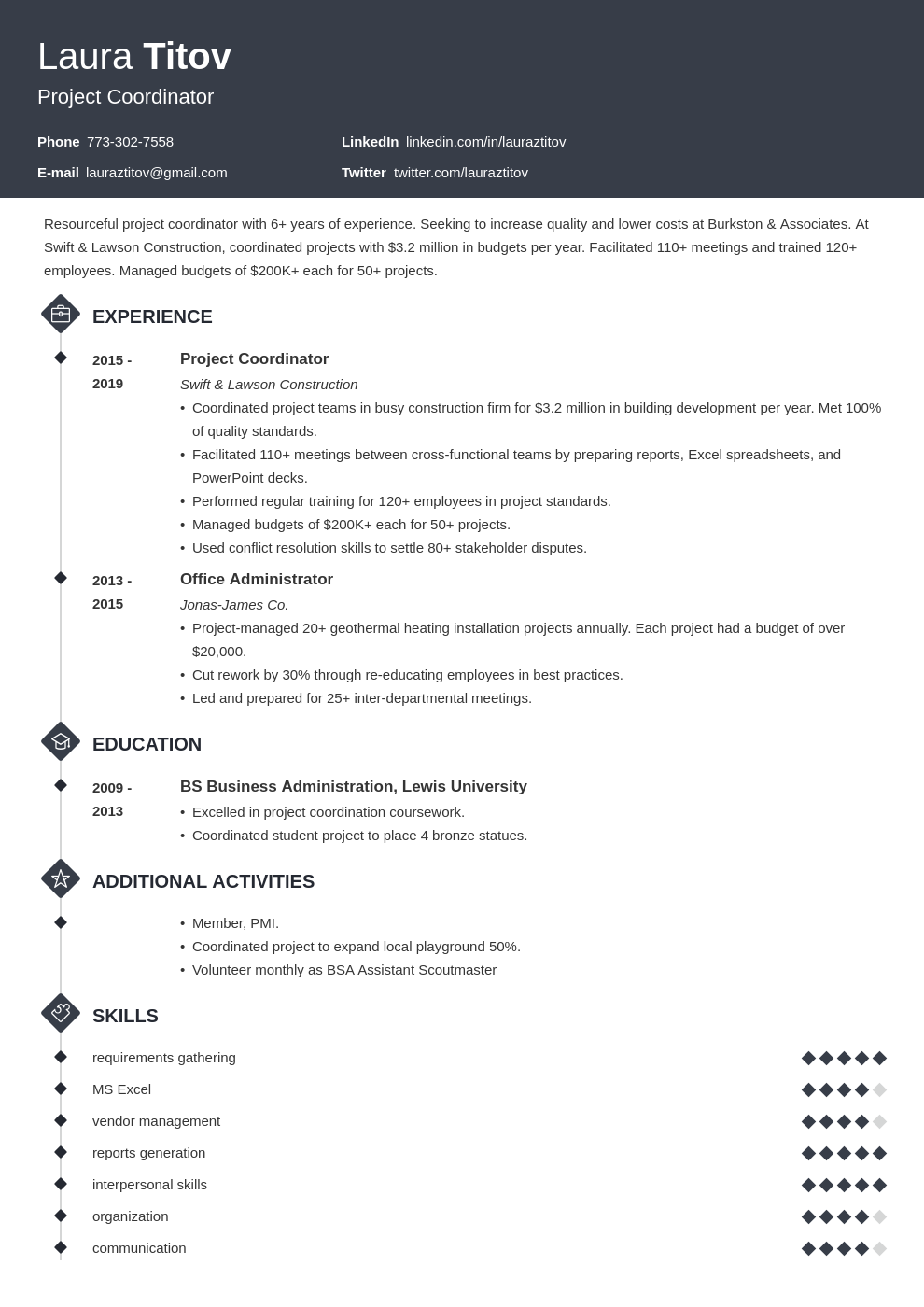 project coordinator template diamond uk