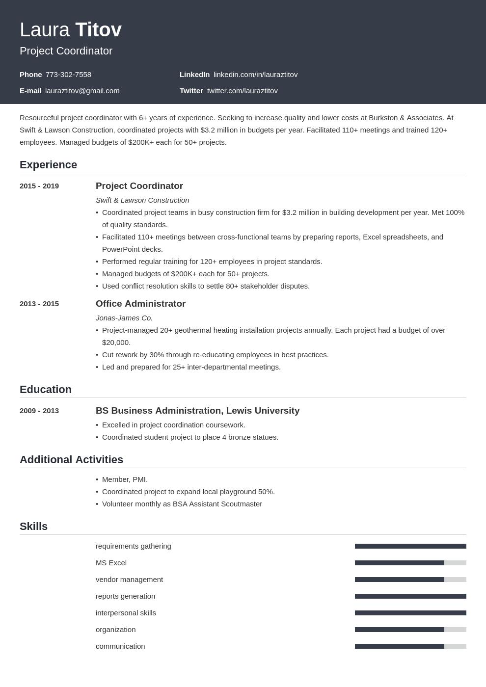 project coordinator template influx uk