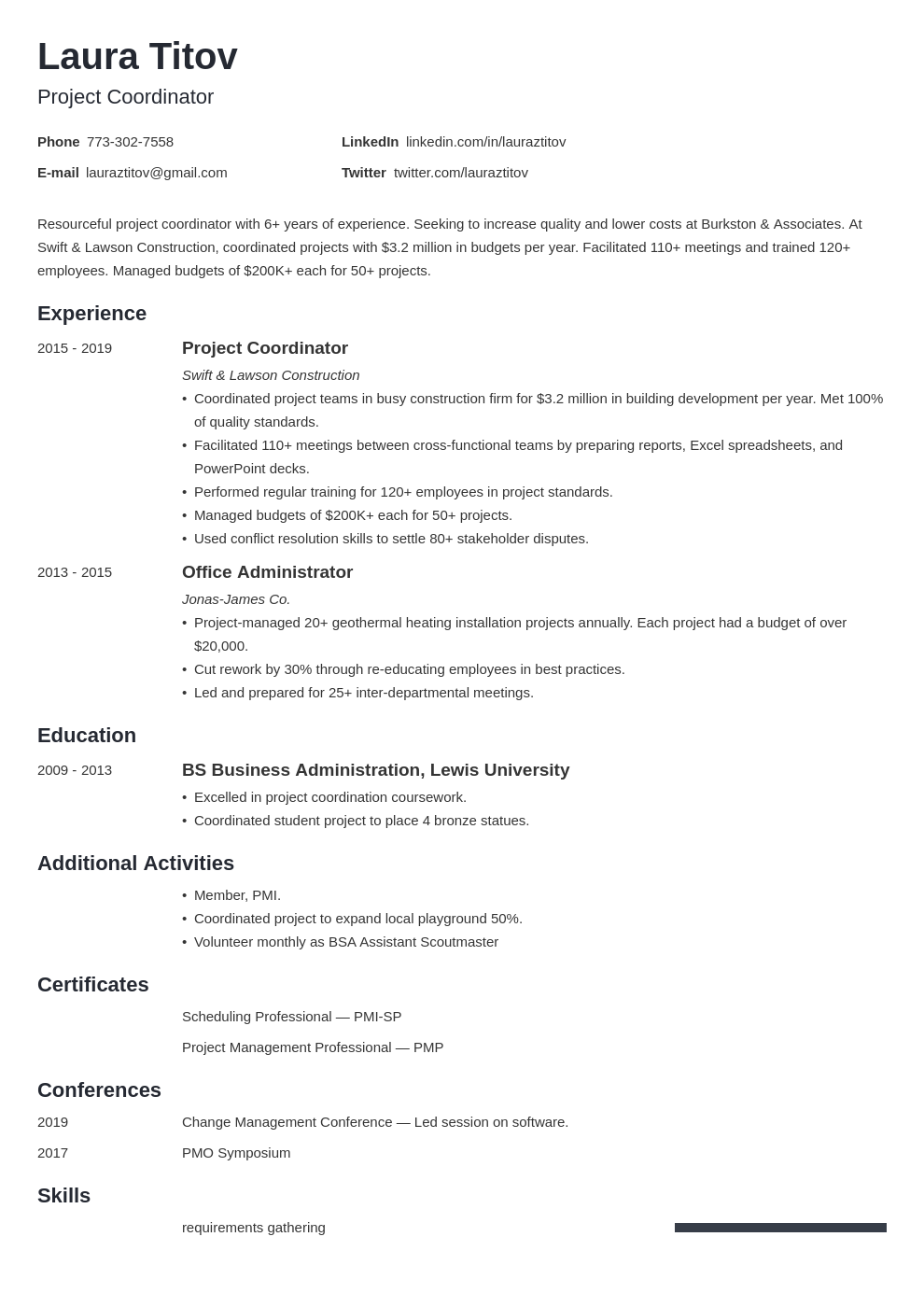project coordinator template minimo
