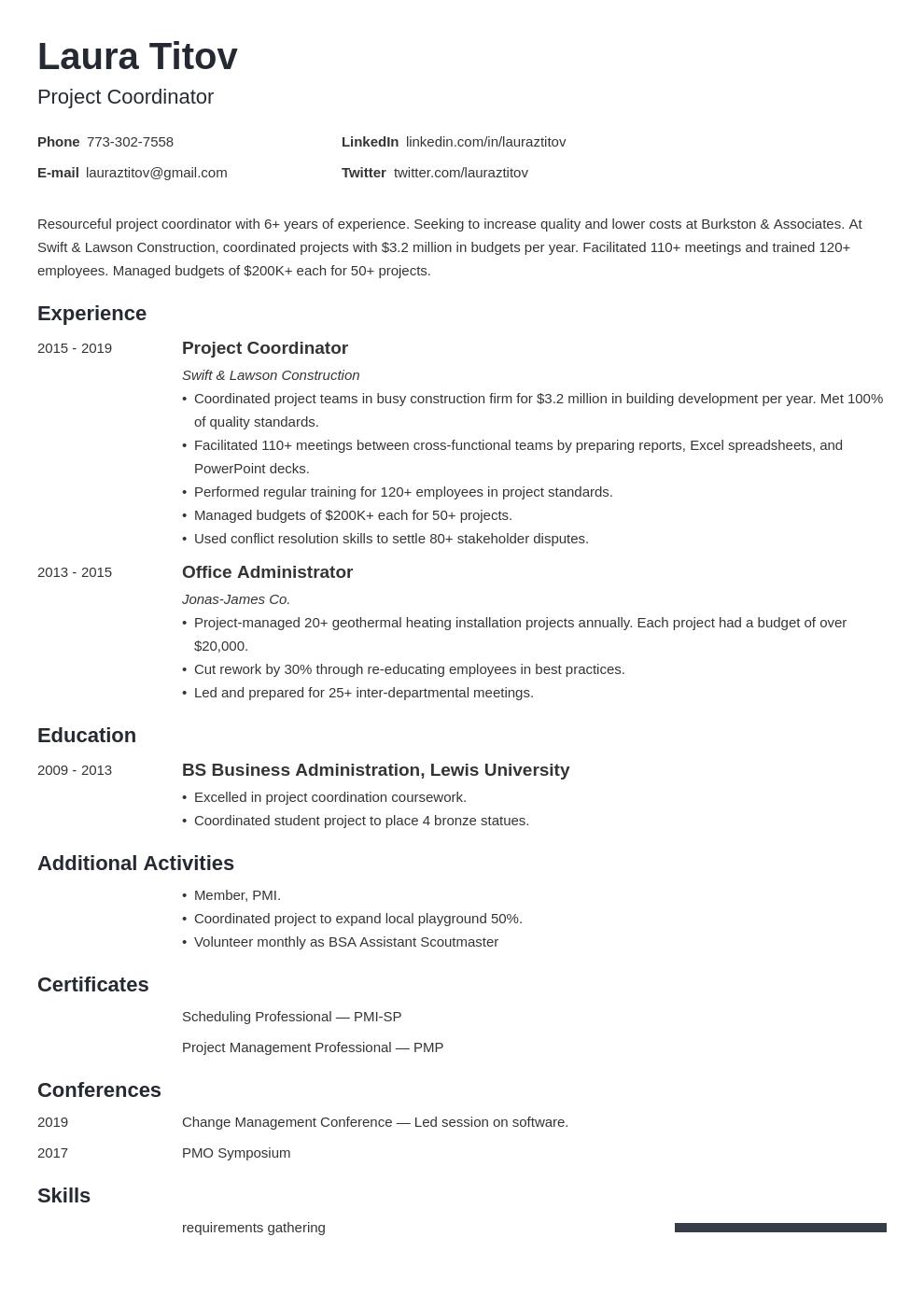 project coordinator template minimo uk