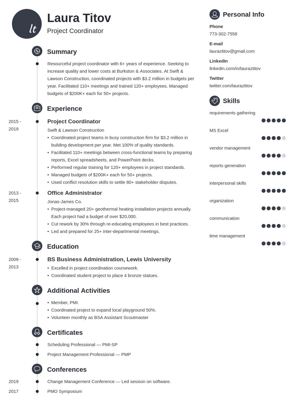 project coordinator template primo