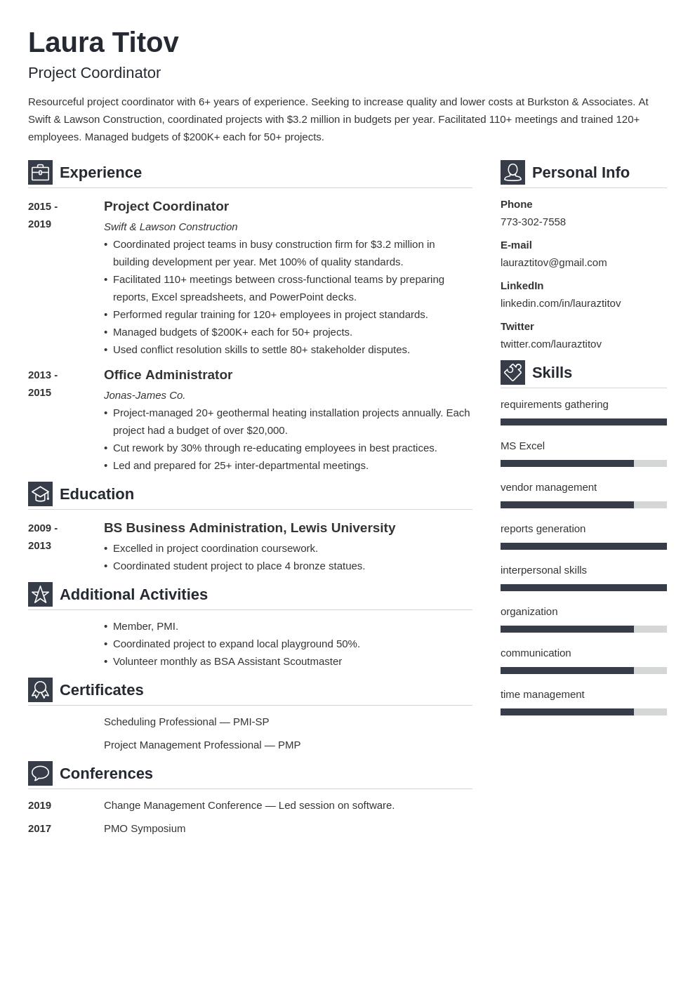 project coordinator template vibes uk