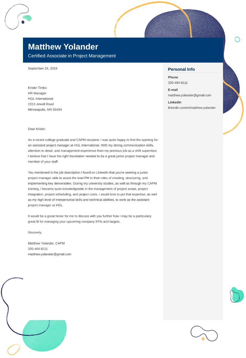 entry level project manager cover letter - Kozen ...