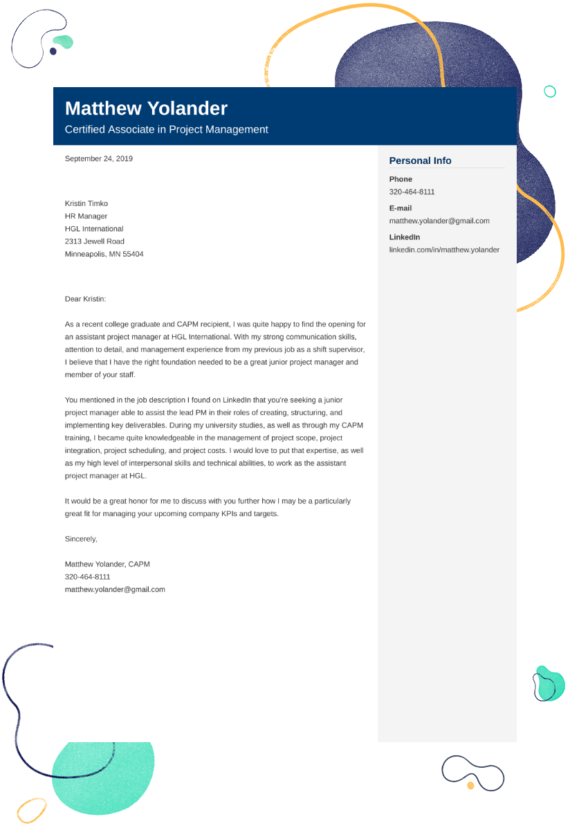 Project Manager Cover Letter Examples Ready To Use Templates