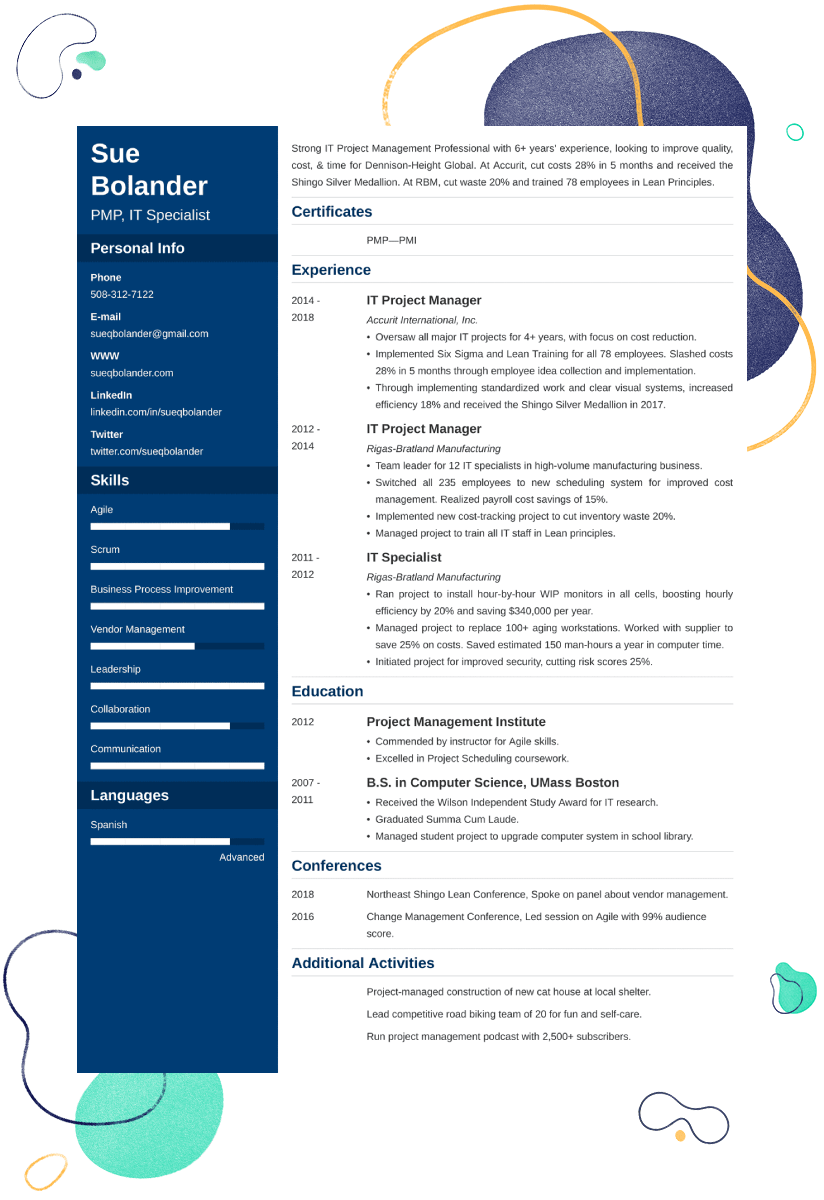 Project Manager Resume Sample 25 Examples And Writing Tips