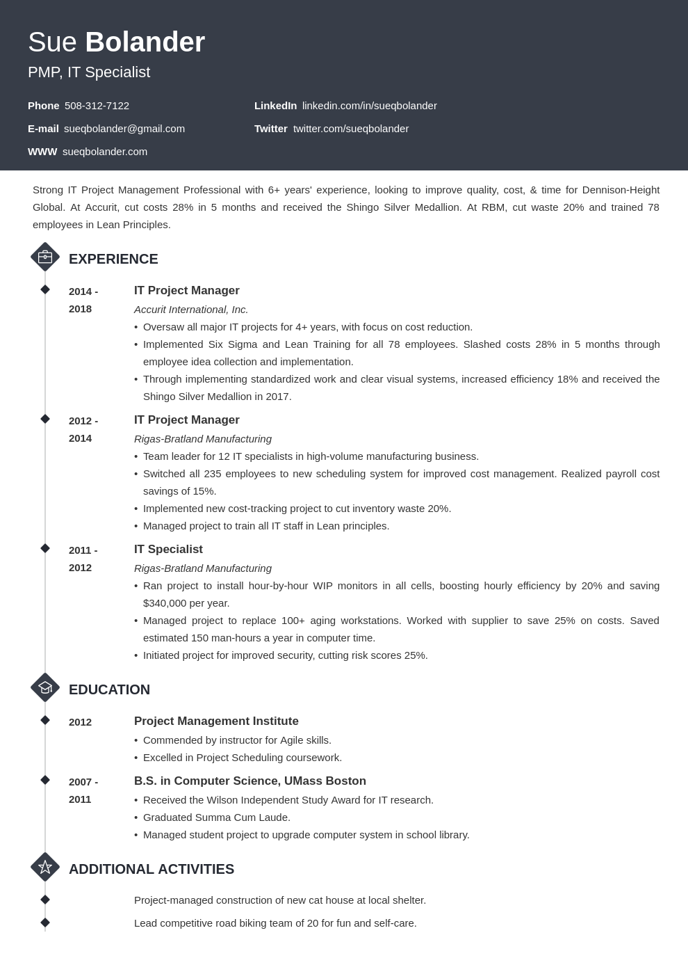 project manager template diamond uk