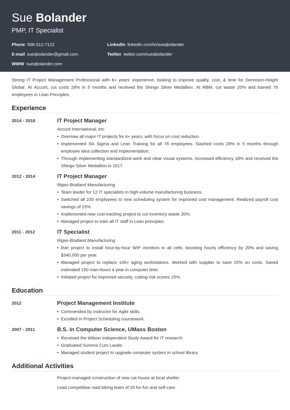 project manager template influx