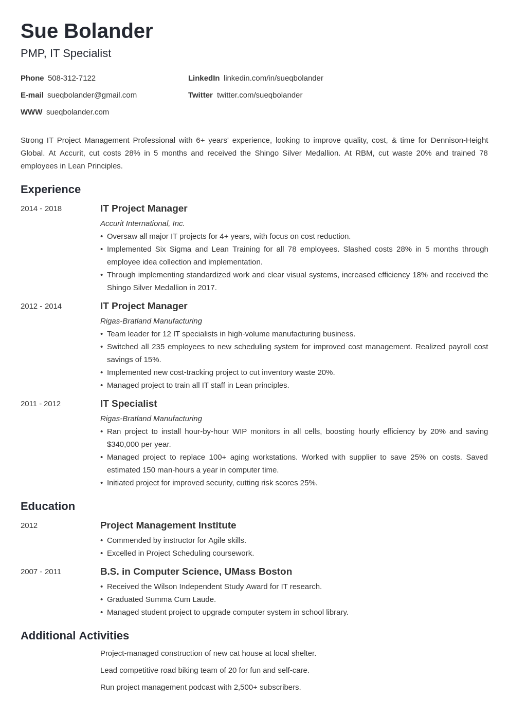project manager template minimo