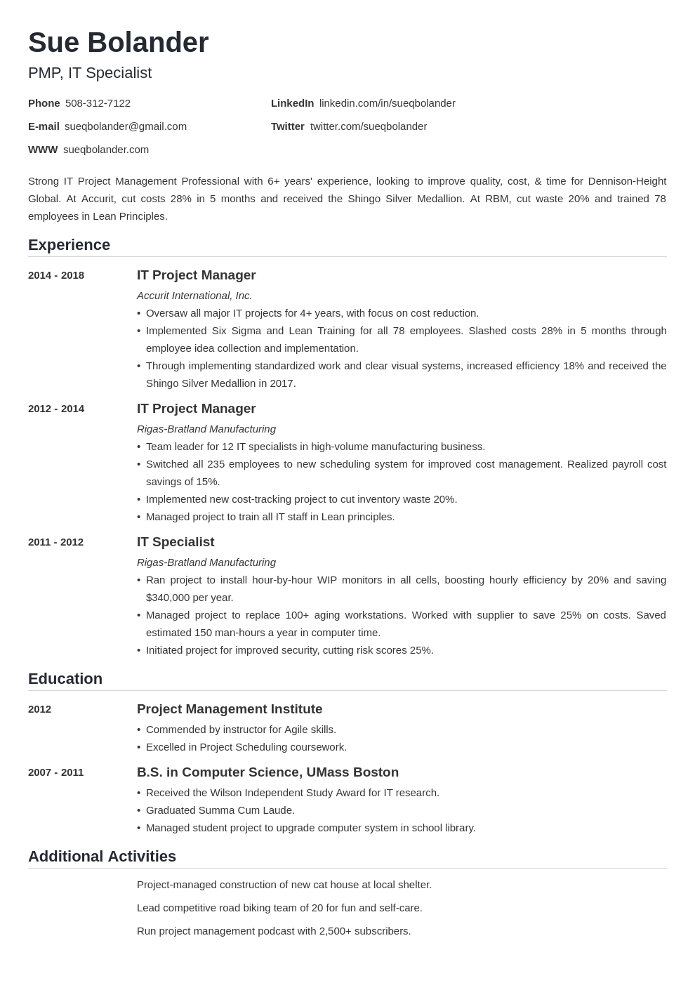 project manager template nanica uk
