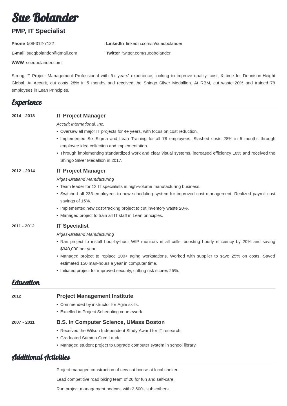 project manager template valera