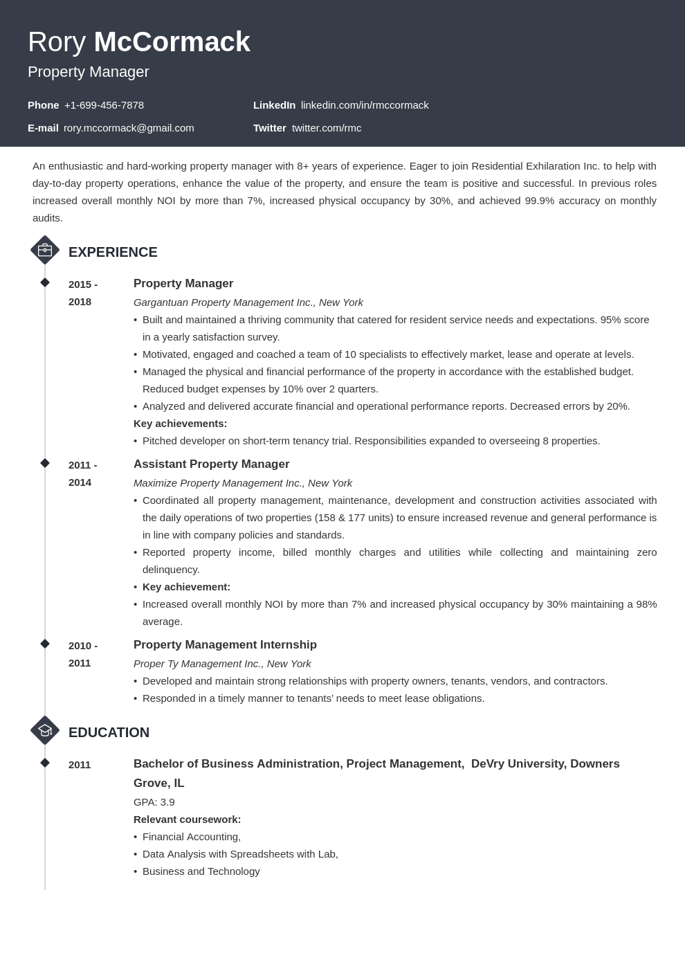 property manager template diamond