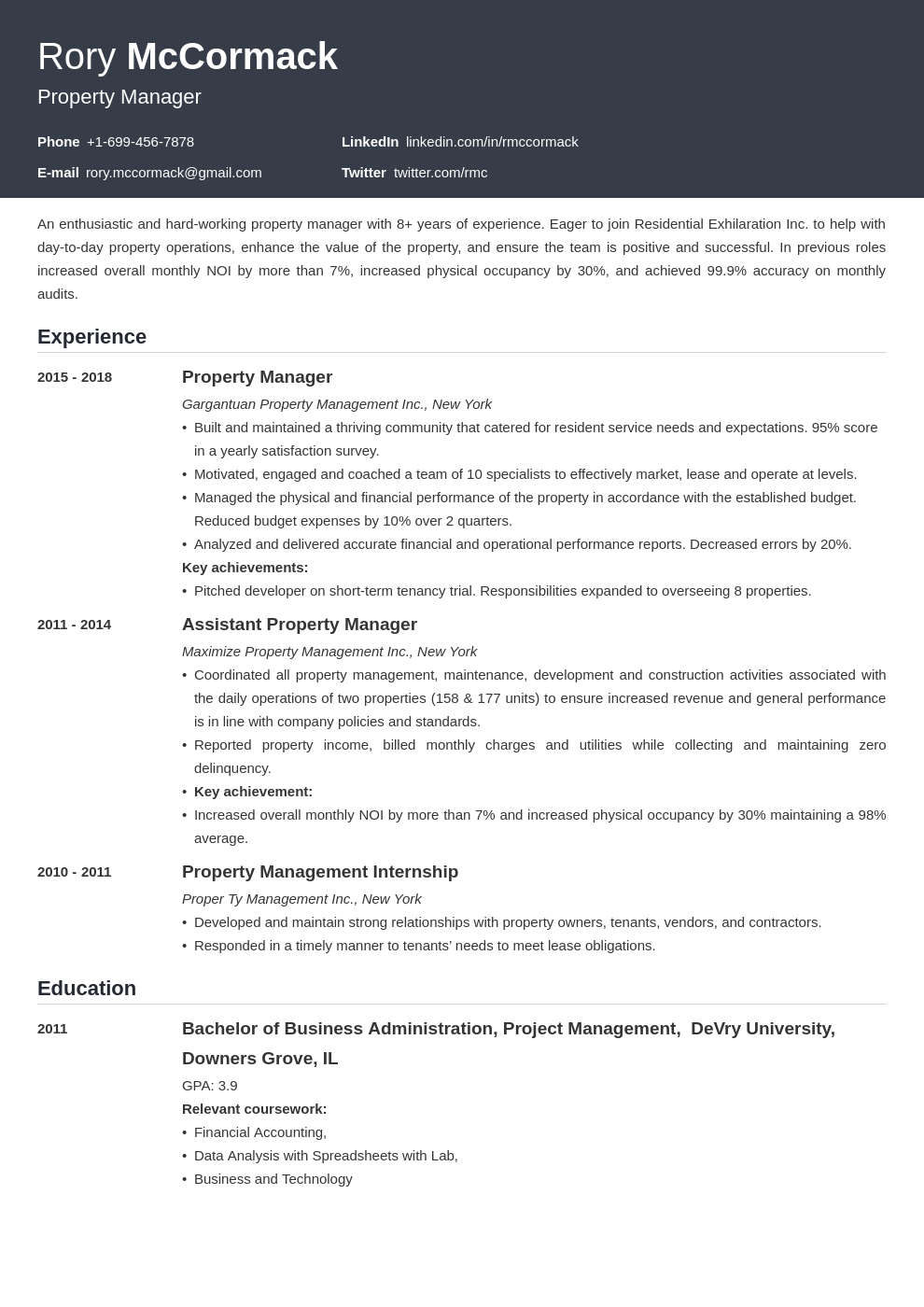 property manager template influx