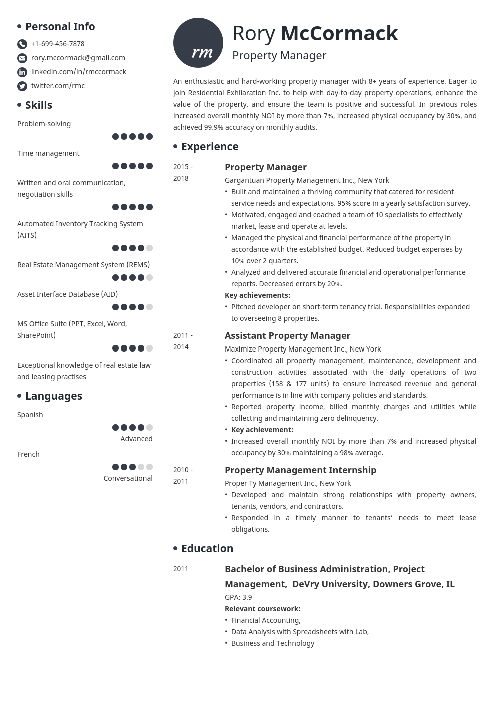property manager template initials