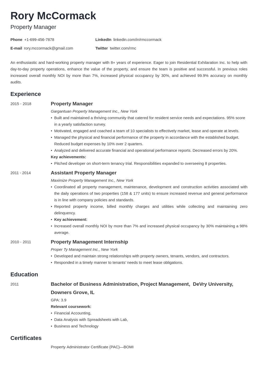 property manager template minimo