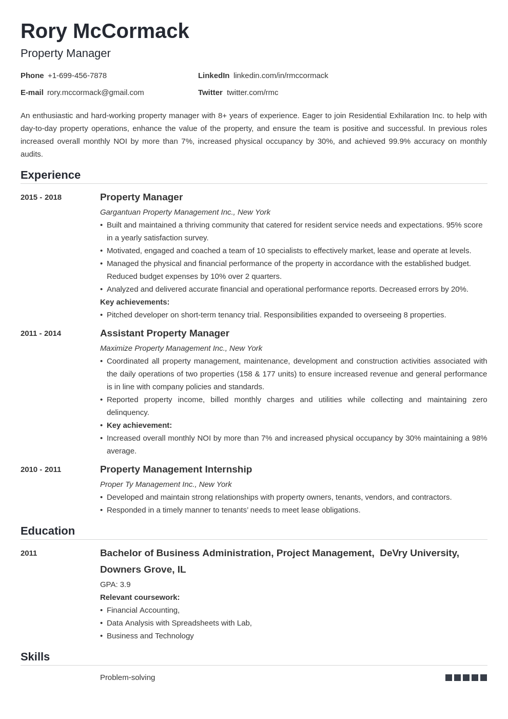 property manager template nanica
