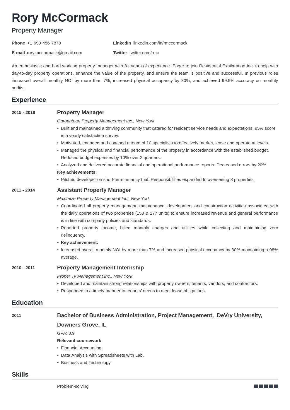 property manager template nanica uk