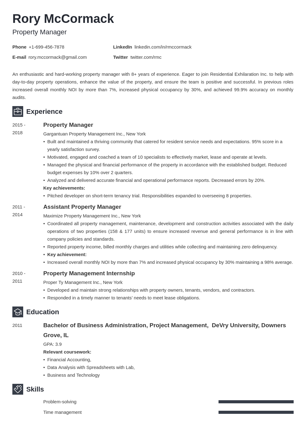 property manager template newcast