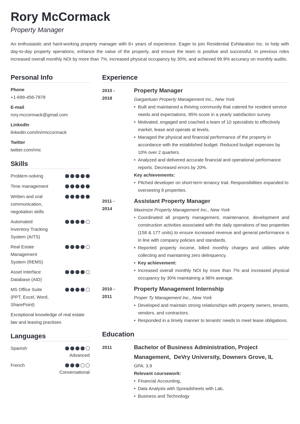 property manager template simple
