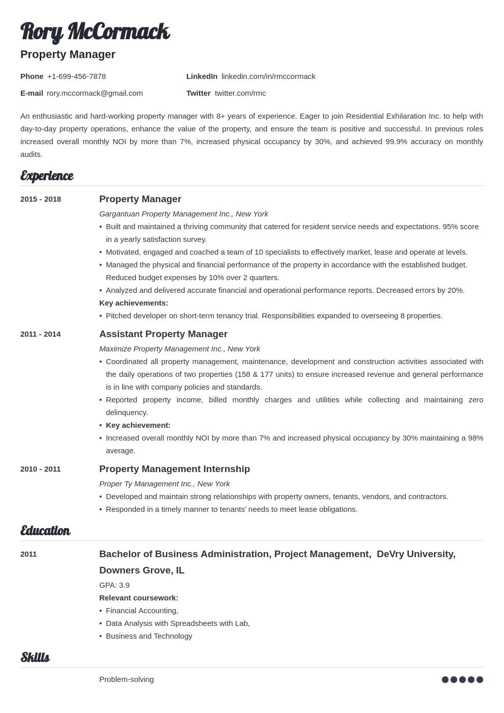 property manager template valera uk