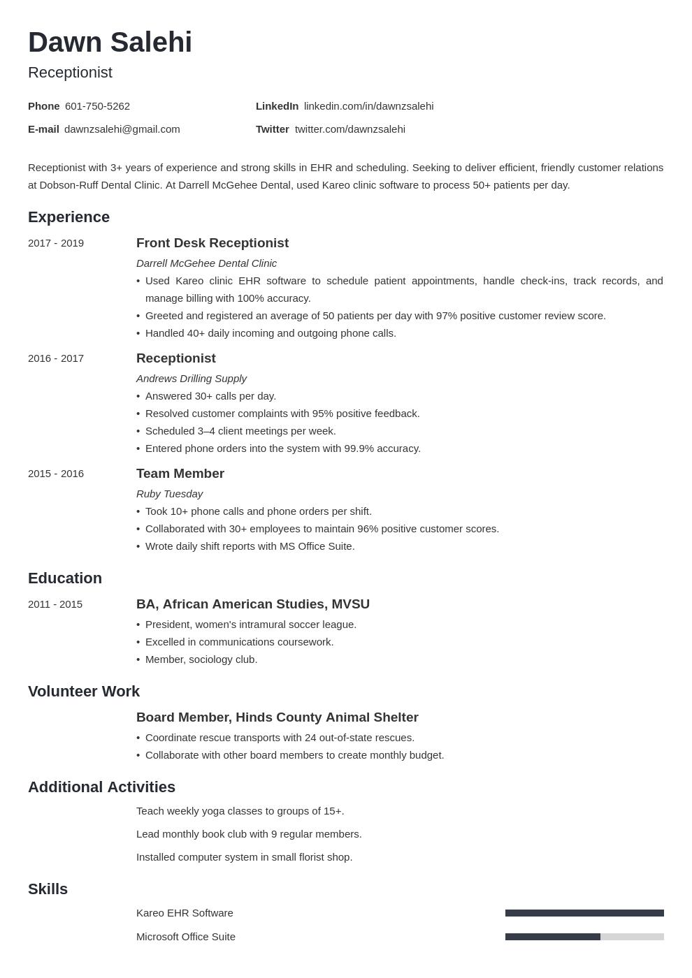 receptionist template minimo uk