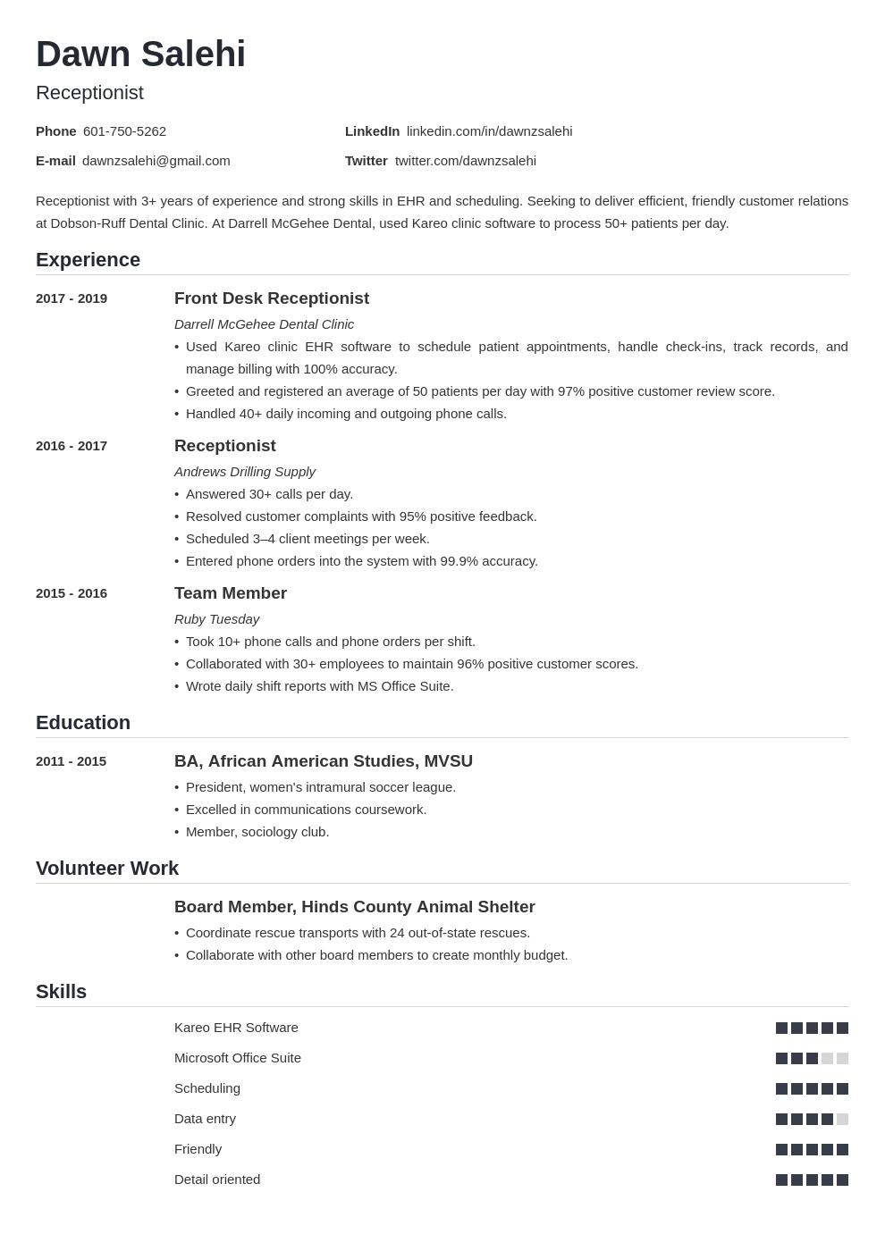 receptionist template nanica uk