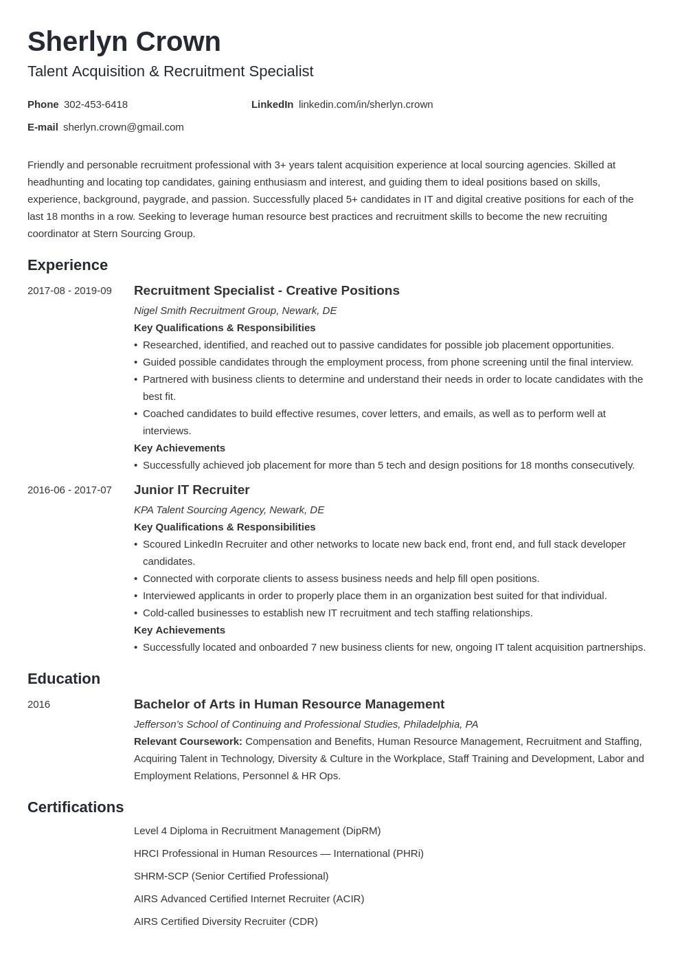 recruiter template minimo uk