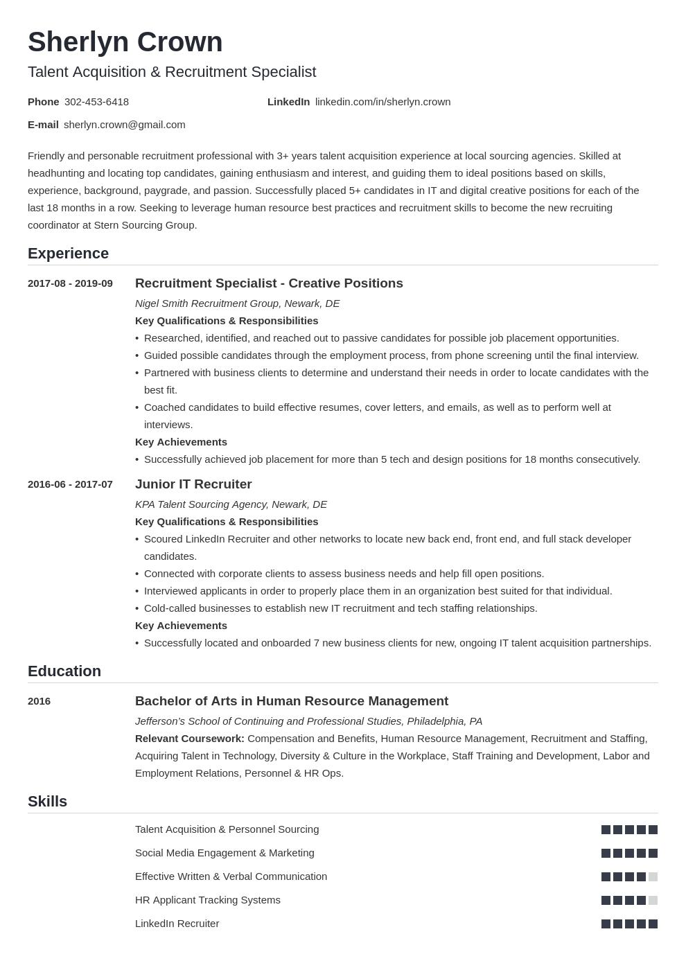 recruiter template nanica uk