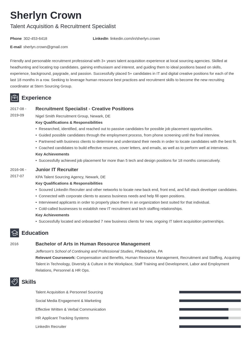 recruiter template newcast