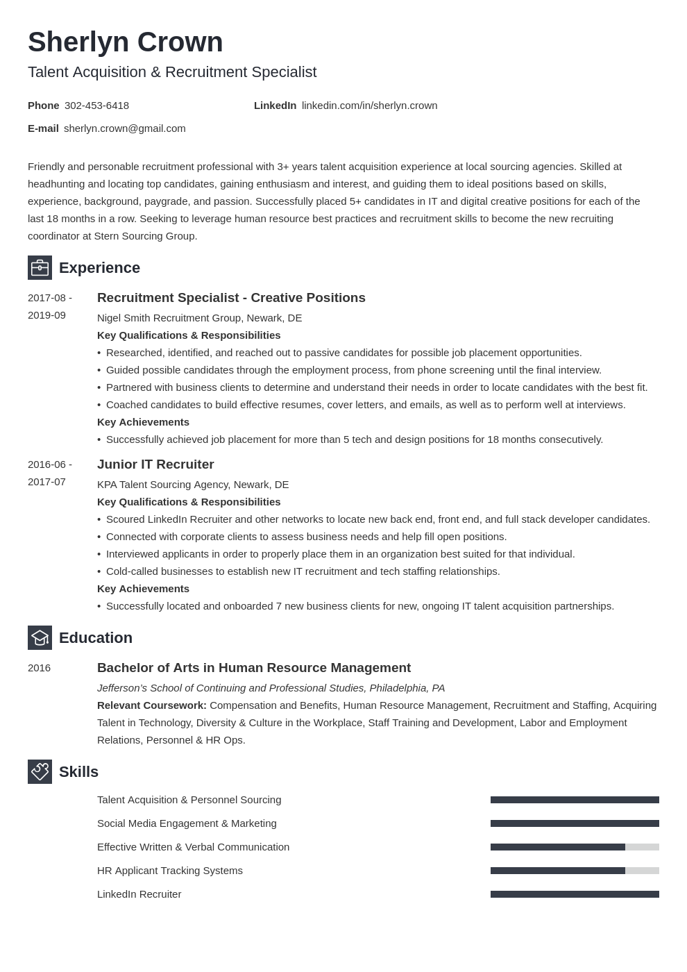 recruiter template newcast uk